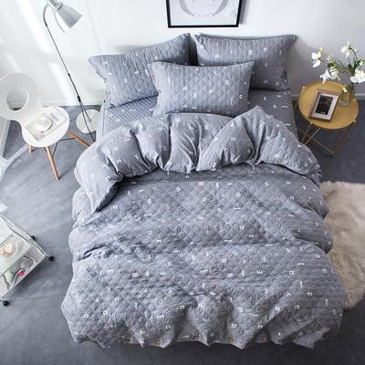 夹棉绗缝床笠秋冬加厚保暖四件套系列 1.5m(5英尺)床 简乐-灰