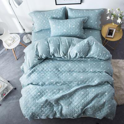 夹棉绗缝床笠秋冬加厚保暖四件套系列 1.5m(5英尺)床 简乐-绿