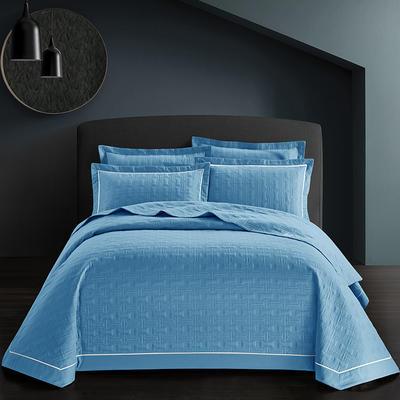 全棉斜纹床盖三件套 245*250 唐顿-冰川蓝