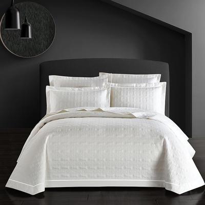 全棉斜纹床盖三件套 245*250 唐顿-情迷白