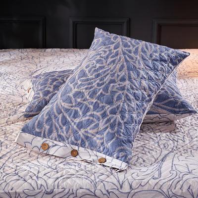 2018新款全棉印花绗绣系列-单品夹棉枕套 48cmX74cm/对 华丽尊宠