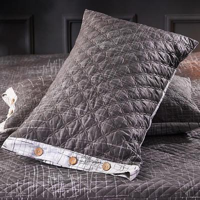 2018新款全棉印花绗绣系列-单品夹棉枕套 48cmX74cm/对 艺术构想