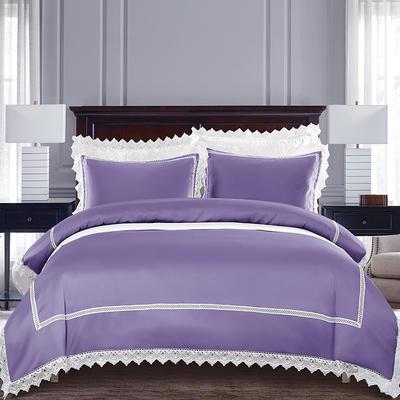 2019新款全棉水洗真丝仿真丝蕾丝四件套 1.5m(5英尺)床 紫