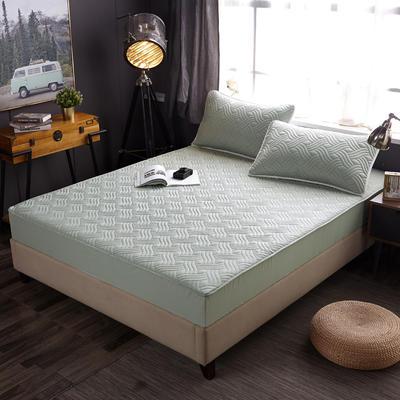 2019新款全棉素色夹棉绗缝床笠 120×200×30cm 灰绿色
