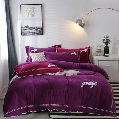 2019新款水晶绒臻棉绒四件套 1.5m床单款四件套 罗曼蒂-雪紫色