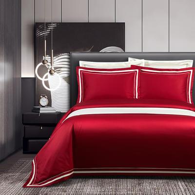 2020新款100支全棉贡缎素色四件套 1.5m床单款四件套 卡巴伦-激情红