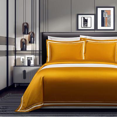2020新款100支全棉贡缎素色四件套 1.5m床单款四件套 卡巴伦-柠檬黄