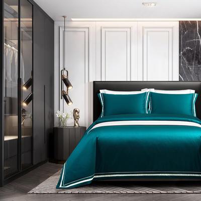 2020新款100支全棉贡缎素色四件套 1.8m床单款四件套 卡巴伦-睿智蓝