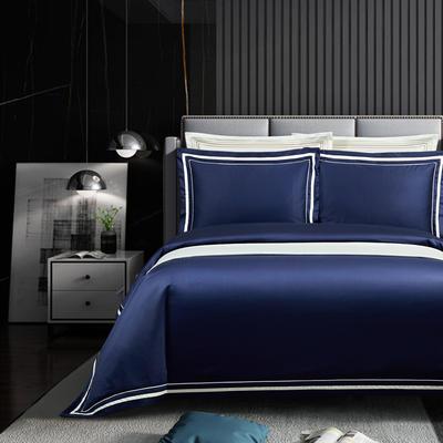 2020新款100支全棉贡缎素色四件套 1.8m床单款四件套 卡巴伦-深邃蓝