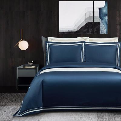 2020新款100支全棉贡缎素色四件套 1.5m床单款四件套 卡巴伦-远航蓝