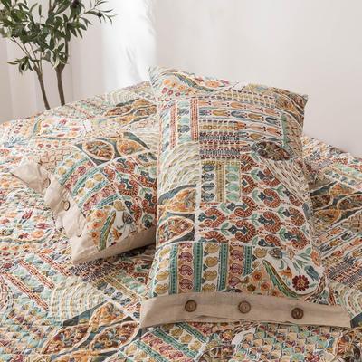 2020新款全棉印花夹棉绗绣系列单枕套 48cmX74cm/对 格鲁娜