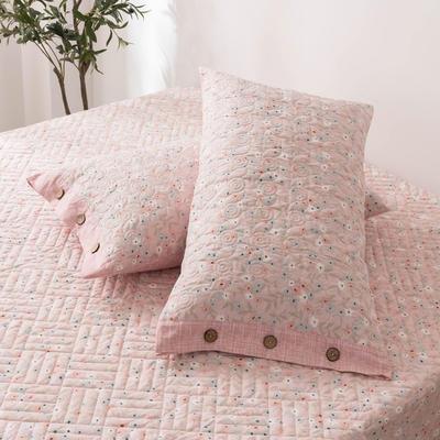 2020新款全棉印花夹棉绗绣系列单枕套 48cmX74cm/对 花语