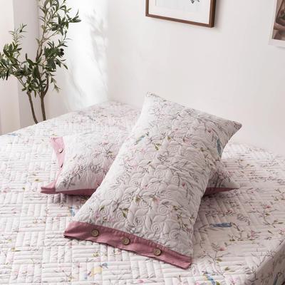 2020新款全棉印花夹棉绗绣系列单枕套 48cmX74cm/对 花枝俏