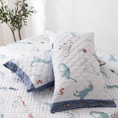 2020新款全棉印花夹棉绗绣系列单枕套 48cmX74cm/对 狂欢乐园
