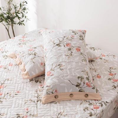 2020新款全棉印花夹棉绗绣系列单枕套 48cmX74cm/对 挪威仙草