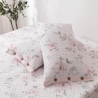 2020新款全棉印花夹棉绗绣系列单枕套 48cmX74cm/对 晚空
