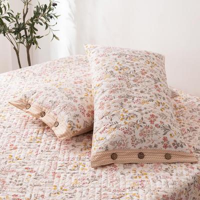 2020新款全棉印花夹棉绗绣系列单枕套 48cmX74cm/对 一抹清香