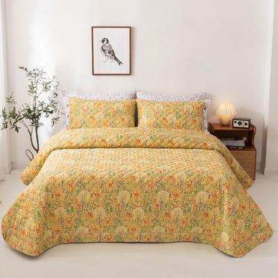 2020新款全棉印花夹棉绗绣系列单床盖床盖三件套 245*250cmcm床盖三件套 斑比