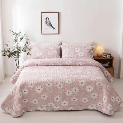 2020新款全棉印花夹棉绗绣系列单床盖床盖三件套 245*250cmcm床盖三件套 朝阳