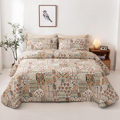 2020新款全棉印花夹棉绗绣系列单床盖床盖三件套 245*250cmcm床盖三件套 格鲁娜