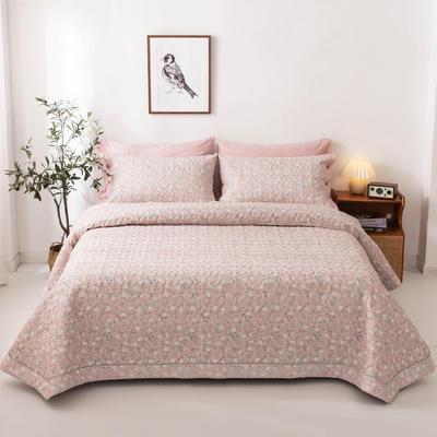 2020新款全棉印花夹棉绗绣系列单床盖床盖三件套 245*250cmcm床盖三件套 花语