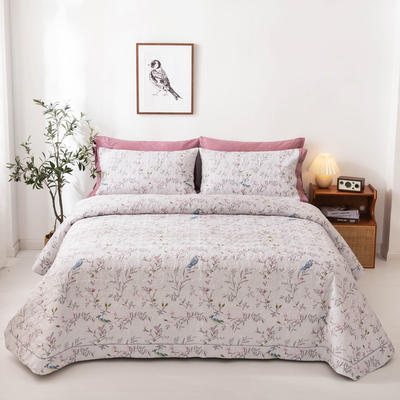 2020新款全棉印花夹棉绗绣系列单床盖床盖三件套 245*250cmcm床盖三件套 花枝俏