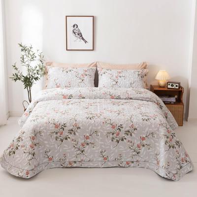 2020新款全棉印花夹棉绗绣系列单床盖床盖三件套 245*250cmcm床盖三件套 挪威仙草