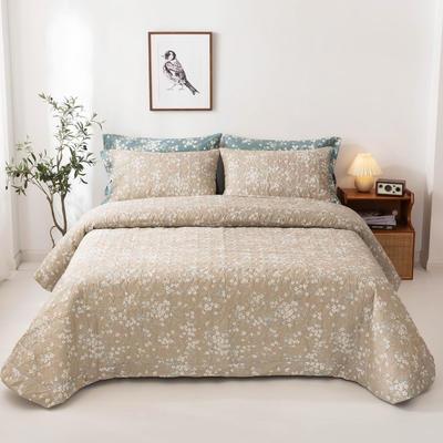 2020新款全棉印花夹棉绗绣系列单床盖床盖三件套 245*250cmcm床盖三件套 青涩