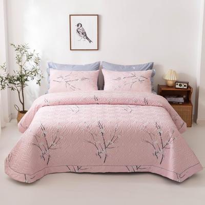 2020新款全棉印花夹棉绗绣系列单床盖床盖三件套 245*250cmcm床盖三件套 三生三世-粉