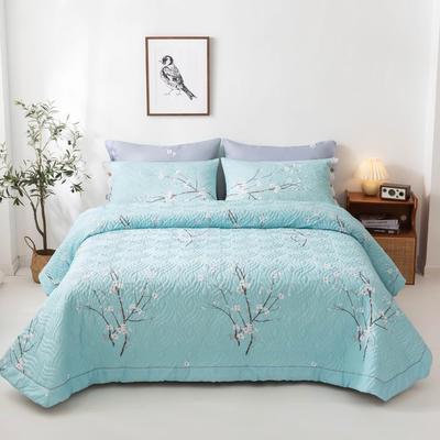 2020新款全棉印花夹棉绗绣系列单床盖床盖三件套 245*250cmcm床盖三件套 三生三世-蓝