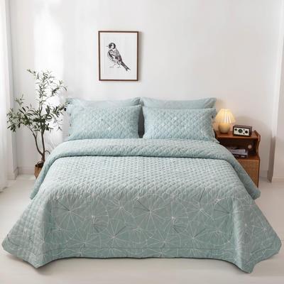 2020新款全棉印花夹棉绗绣系列单床盖床盖三件套 245*250cmcm床盖三件套 淑女格