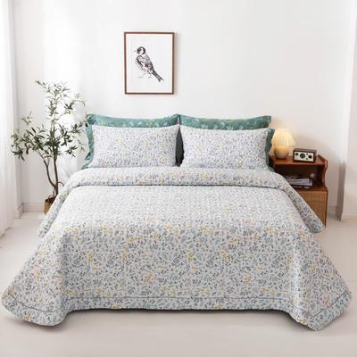 2020新款全棉印花夹棉绗绣系列单床盖床盖三件套 245*250cmcm床盖三件套 田园风光