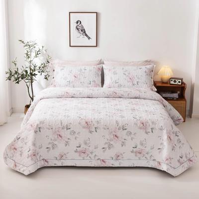 2020新款全棉印花夹棉绗绣系列单床盖床盖三件套 245*250cmcm床盖三件套 晚空