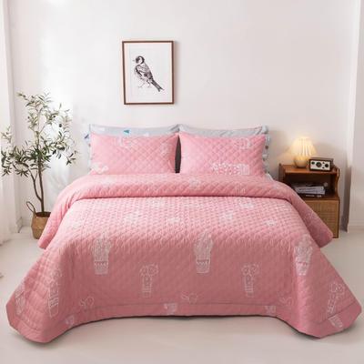 2020新款全棉印花夹棉绗绣系列单床盖床盖三件套 245*250cmcm床盖三件套 仙恋凝花-粉
