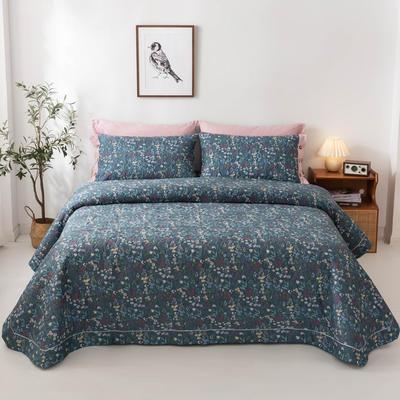 2020新款全棉印花夹棉绗绣系列单床盖床盖三件套 245*250cmcm床盖三件套 向阳花开