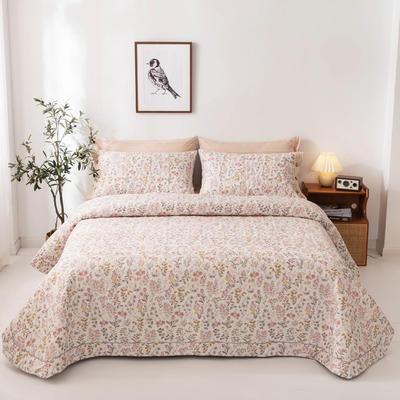 2020新款全棉印花夹棉绗绣系列单床盖床盖三件套 245*250cmcm床盖三件套 一抹清香