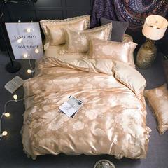 珂奈尔家纺新品贡缎提花蕾丝花边四件套 1.8m(6英尺)床 花香芬芳(金驼)
