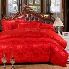 珂奈尔全棉贡缎提花 大红婚庆绣花丝棉床上用品四件套床单笠 2.0m(6.6英尺)床 浓浓爱意大红