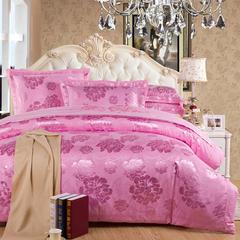 珂奈尔全棉贡缎提花 大红婚庆绣花丝棉床上用品四件套床单笠 1.8m(6英尺)床 清新牡丹粉红