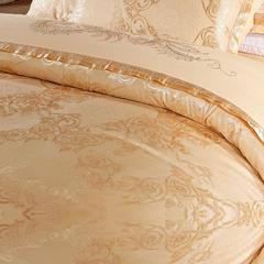 珂奈尔全棉贡缎提花 大红绣花丝棉床上用品四件套床单笠 1.8m(6英尺)床 雅韵飘香 金黄
