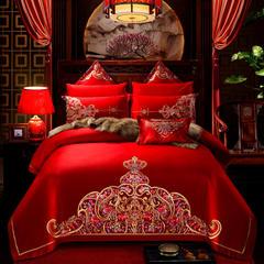 全棉大红婚庆四件套 刺绣结婚六件套床上用多件套爱情皇冠 2.0m(6.6英尺)床 十件套
