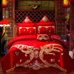 全棉大红北京pk10开奖上鼎狐网四件套 刺绣结婚六件套床上用多件套 1.8m(6英尺)床 四件套