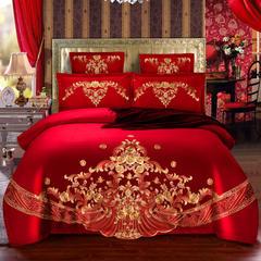 婚庆四件套大红色 全棉纯棉结婚房床上用品多件套 2.0m(6.6英尺)床 六件套