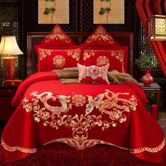 全棉大红婚庆四件套绣花床上用品多件套结婚房套件 1.5m(5英尺)床 四件套