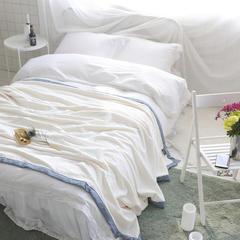 韩版剪花加厚法莱绒300克毛毯绒毯保暖毯棉麻混纺包边(穗穗) 150*200cm 穗穗-白