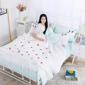 水洗棉四件套 2.0m床 草莓绿