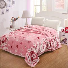 香港红蜻蜓 拉舍尔毛毯 160X210cm 粉色小花