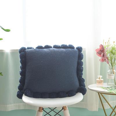 月半弯 ins风新款带毛球抱枕靠垫坐垫抱枕套 带芯(55*55 含球) 深蓝