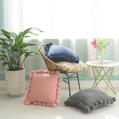 月半弯 ins风新款带毛球抱枕靠垫坐垫抱枕套 不带芯(55*55 含球) 粉色