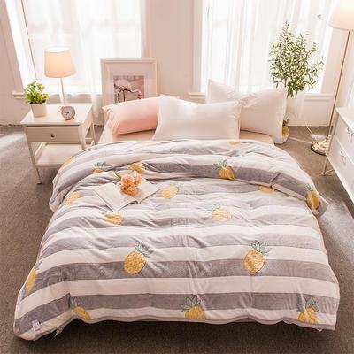 2018新品零静电雪花绒加厚法兰绒珊瑚绒法莱绒毛毯 1.2*2.0米 开心菠萝